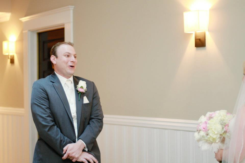 Groom seeing his bride for the first time!