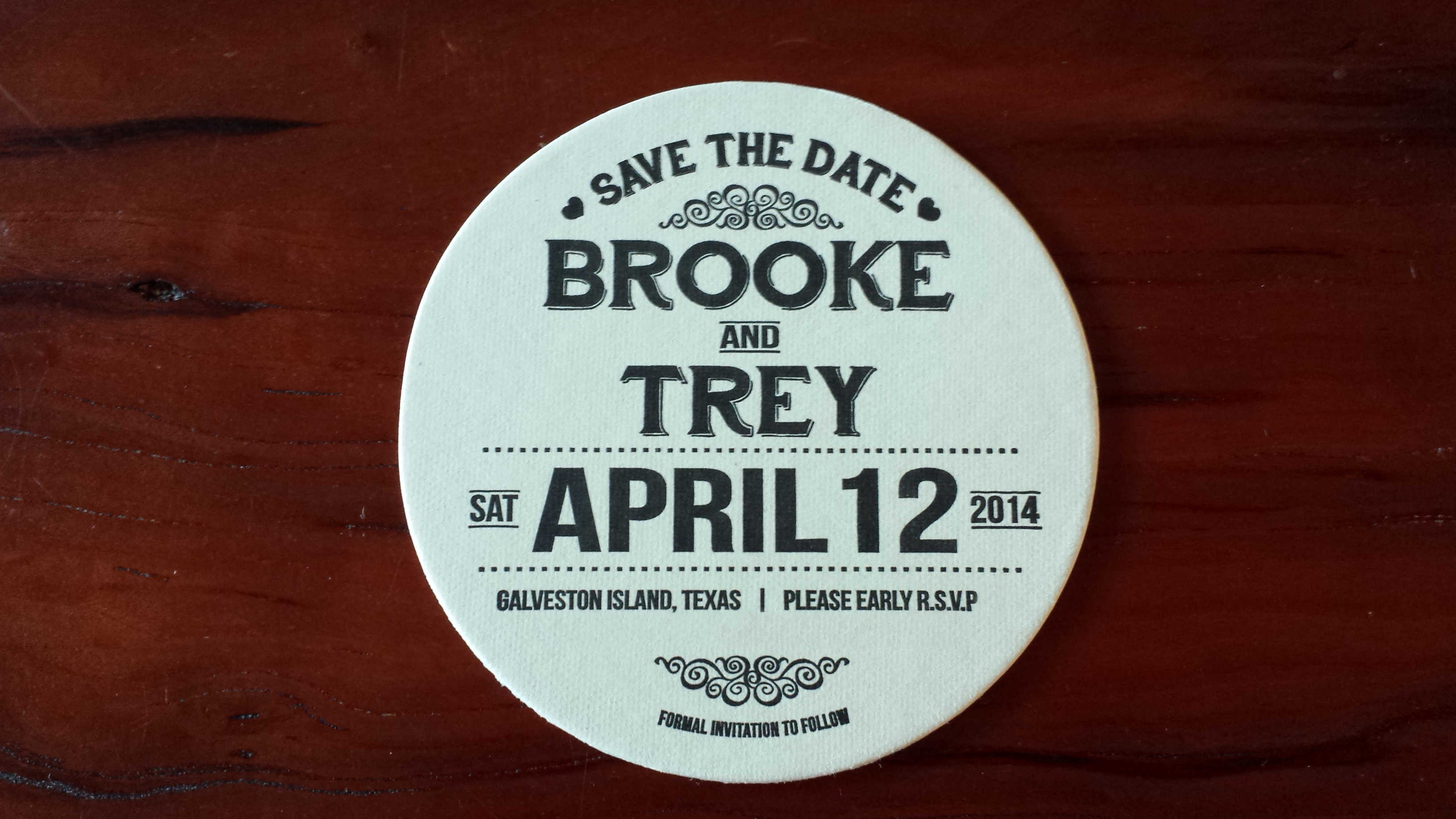 Galveston Save the Date Coaster